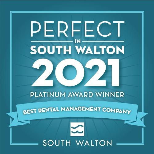 30A Escapes winner of 2021 Perfect In South Walton Platinum Award for Best Rental Management Company