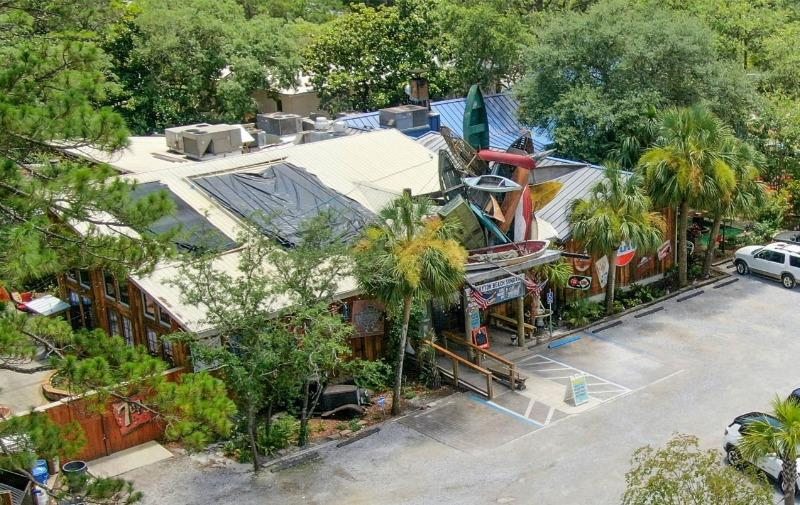 Aerial View of AJ's Grayton Beach with live music daily